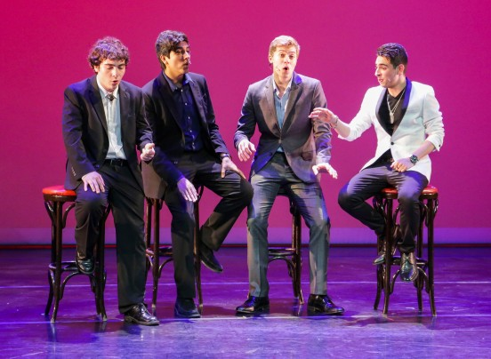 From left to right, Noah Levine, 18, Edmond Rodriguez, 18, Sean Stack, 17, and Nicholas Aquilino, 17, sing 'Luck Be A Lady' by Frank Loesser and 'Lady Be Good' by George Gershwin during the YoungArts Miami's Dance, Music, Theater & Voice Performance that took place March 14, 2015 in the Colony Theater in Miami Beach. Matias J. Ocner / Miami Herald Staff