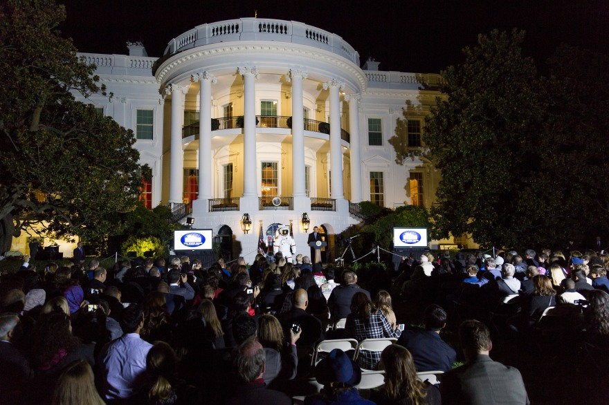 President Barack Obama tells more than 300 guests at the White House for Astronomy Night on Monday that science, technology, engineering and math education are important for the country's future. SHFWire Photo by Matias Ocner