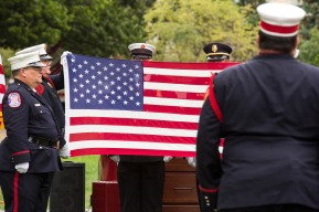 Firefighters conducted a flag-folding ceremony during the congressional flag presentation in Upper Senate Park. SHFWire Photo by Matias J. Ocner